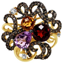 LeVian Ring Garnet Amethyst Citrine Vanilla Topaz Smoky Quartz 14K Honey Gold