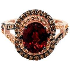LeVian Ring Garnet Chocolate Diamonds Vanilla Diamonds 14 Karat Strawberry Gold