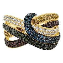 LeVian Ring, Green, Red and White Fancy Diamonds Set in 14 Karat Yellow Gold