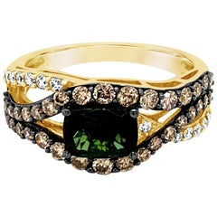 LeVian Ring Green Tourmaline Chocolate Diamonds White Diamonds 14 Karat Gold