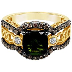LeVian Ring Green Tourmaline White Diamonds Chocolate Diamonds 14K Green Gold