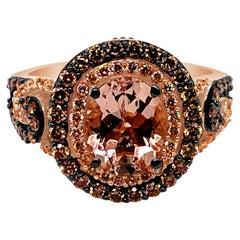 LeVian Ring Morganite Chocolate Diamonds Vanilla Diamonds 14 Karat Gold