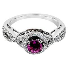LeVian Ring Purple Sapphire Chocolate Diamonds Vanilla Diamonds 14k White Gold
