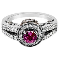 LeVian Ring Purple Sapphire Vanilla and Chocolate Diamonds 14 Karat White Gold