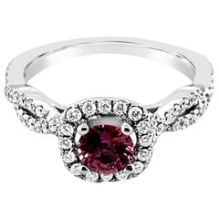 LeVian Ring Purple Sapphire Vanilla and Chocolate Diamonds 14 Karat White Gold