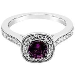 LeVian Ring Purple Sapphire White Diamonds Chocolate Diamonds 14 Karat Gold
