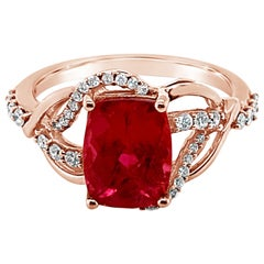 LeVian Ring Raspberry Rubellite Vanilla Diamonds 14 Karat Strawberry Gold