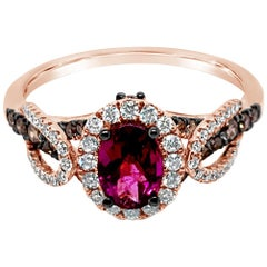 LeVian Ring Rhodolite Chocolate Diamonds Vanilla Diamonds 14 Karat Rose Gold