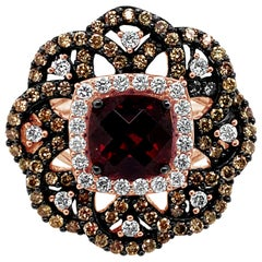 LeVian Ring Rhodolite Vanilla Diamonds Chocolate Diamonds 14 Karat Rose Gold