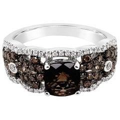 LeVian Ring Smoky Quartz Chocolate Diamonds Vanilla Diamonds 14 Karat Rose Gold