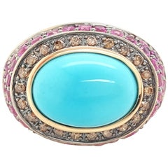 LeVian Robins Egg Blue Turquoise Diamond and Ruby 14 Karat Yellow Gold Ring