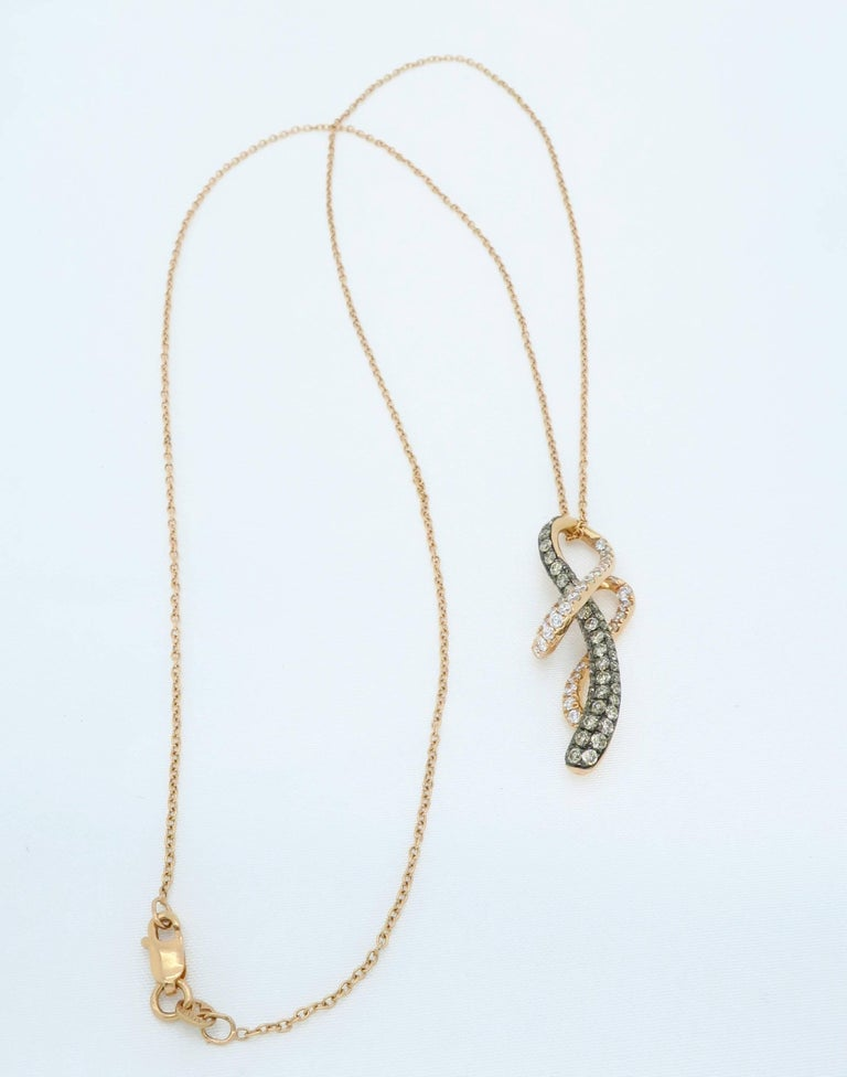Le Vian Rose Gold Diamond Necklace In Excellent Condition For Sale In Webster, NY
