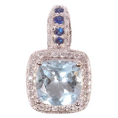 LeVian White Gold Aquamarine Diamond Pendant