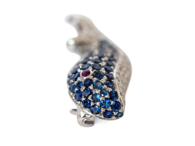 Contemporary LeVian White Gold Sapphire and Diamond Whale Pin For Sale