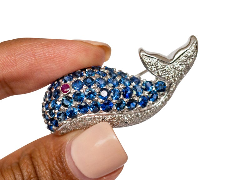 LeVian White Gold Sapphire and Diamond Whale Pin In Good Condition For Sale In Hicksville, NY