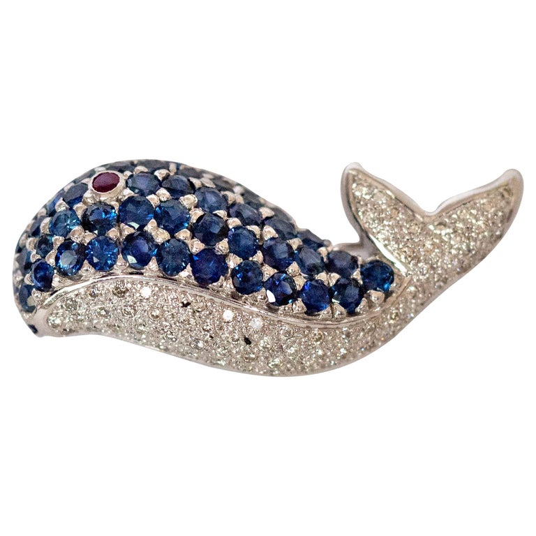 LeVian White Gold Sapphire and Diamond Whale Pin For Sale
