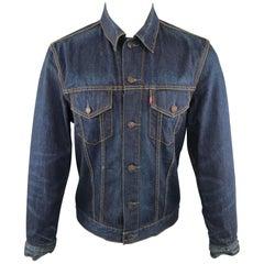 LEVI'S 40 Indigo Contrast Stitch Denim Trucker Jacket