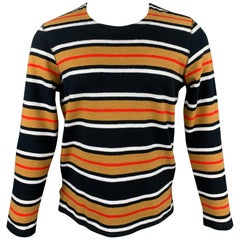 LEVI'S MADE & CRAFTED Size S Black & Mustard Stripe Cotton Crew-Neck Pullover