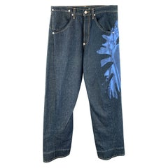 LEVI'S Size 32 Indigo Denim Side Seam Blue Paint Splatter Jeans