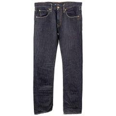LEVI'S Size 32 Indigo Solid Cotton / Linen Jeans
