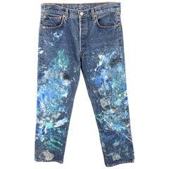 LEVI'S Size 34 x 32 Blue Splattered Denim Button Fly Jeans
