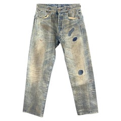 LEVI'S Size XS Blue Distressed Washed Selvedge Denim Patchwork Jeans