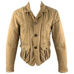 LEVI'S VINTAGE CLOTHING Size M Khaki Distressed Cotton Buttoned Work Jacket