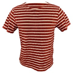 LEVI'S VINTAGE Size M Burgundy & White Stripe Cotton / Polyester T-Shirt