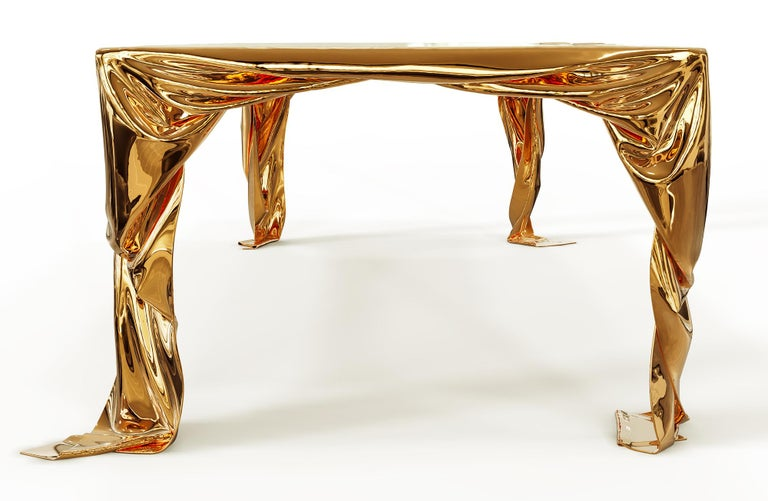 Contemporary Levitaz Cast Bronze Dining Table For Sale