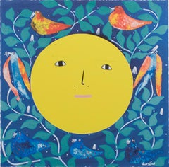 """""""Moon Face,"""" Giclee Print on Canvas after 1991 Acrylic signed by Levoy Exil"""