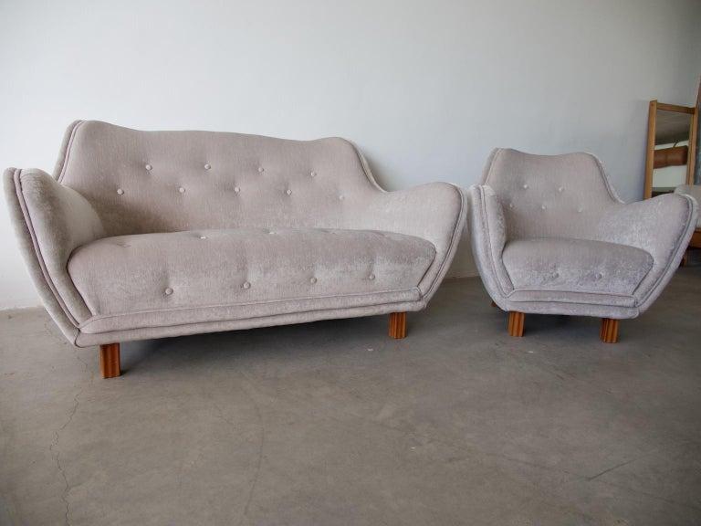 Levy Carlssons Mobelafarr Button Tufted Grey Velvet Sofa For Sale 5