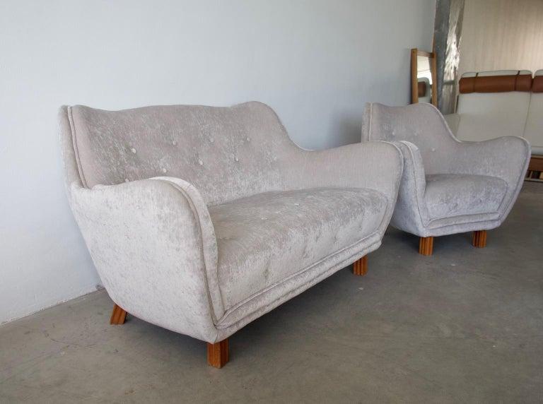 Levy Carlssons Mobelafarr Button Tufted Grey Velvet Sofa For Sale 6