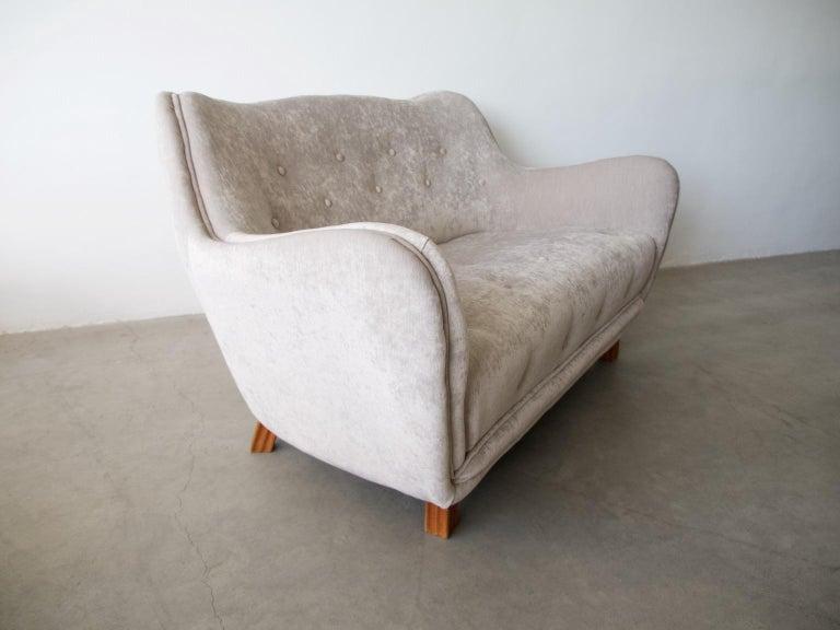 Scandinavian Modern Levy Carlssons Mobelafarr Button Tufted Grey Velvet Sofa For Sale