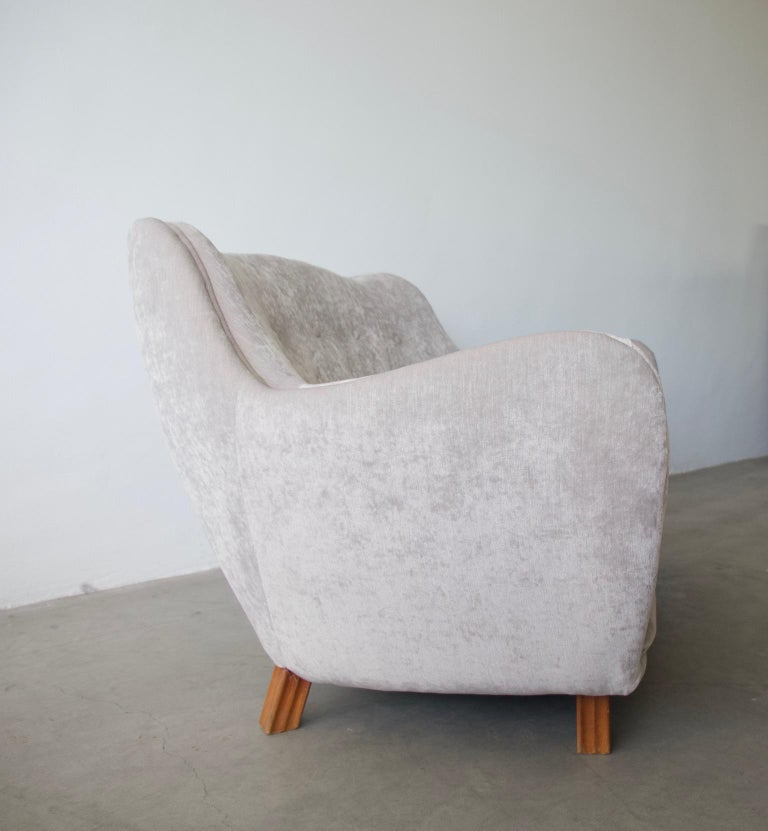 Swedish Levy Carlssons Mobelafarr Button Tufted Grey Velvet Sofa For Sale