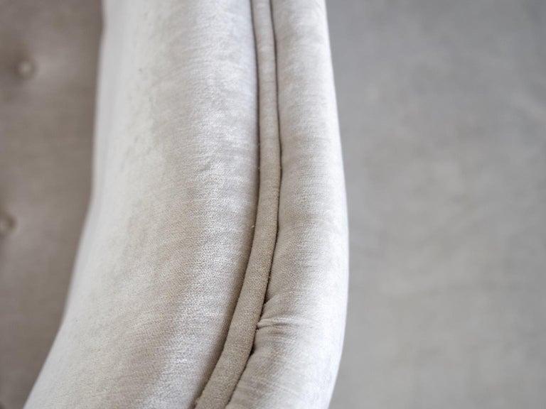 Levy Carlssons Mobelafarr Button Tufted Grey Velvet Sofa For Sale 1