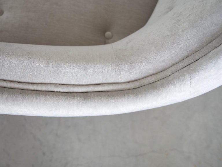 Levy Carlssons Mobelafarr Button Tufted Grey Velvet Sofa For Sale 2