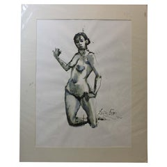 Lewis Evany Artist Gouache Painting ' Nude woman'