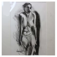 Lewis Evany Artist Pencil Drawing ' Nude Woman'