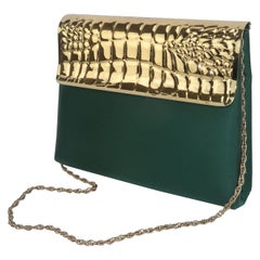 Lewis Green Satin & Gold Metal Alligator Embossed Handbag, 1970's