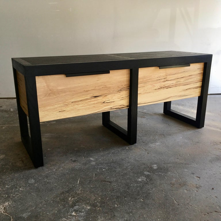 American Lewis Slat Bench Midcentury Style with Drawers, Ebonized oak and Spalted Maple For Sale