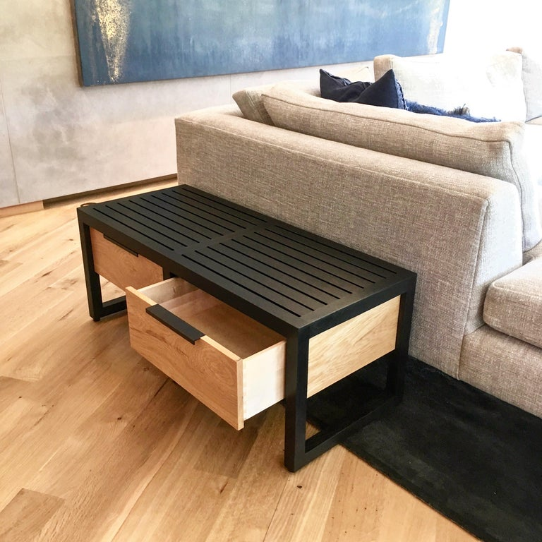 Blackened Lewis Slat Bench Midcentury Style with Drawers, Ebonized oak and Spalted Maple For Sale