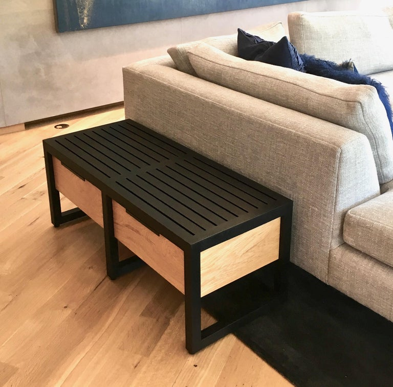 Lewis Slat Bench Midcentury Style with Drawers, Ebonized oak and Spalted Maple In New Condition For Sale In Kingston, NY
