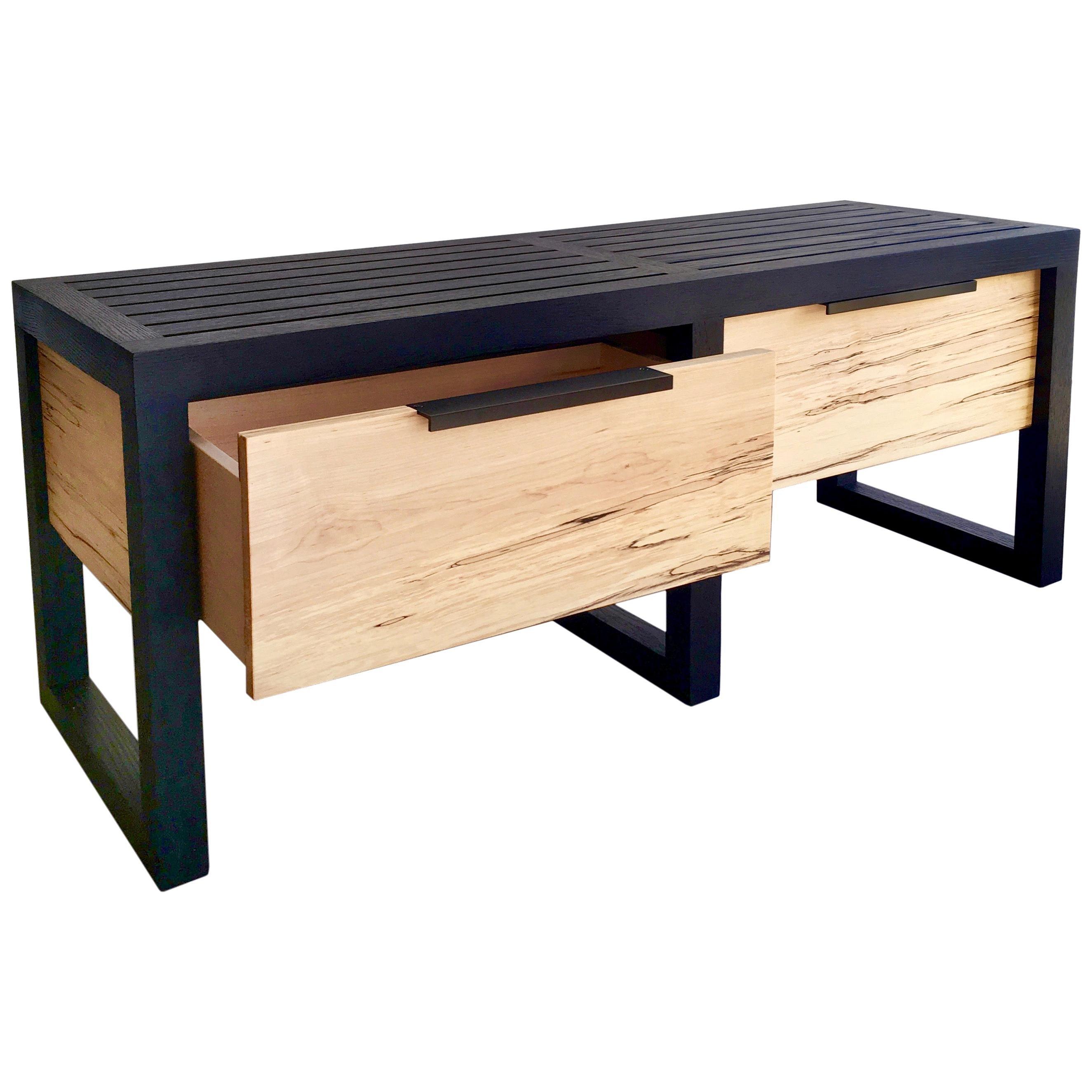 Lewis Slat Bench Midcentury Style with Drawers, Ebonized Oak and Spalted Maple