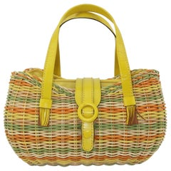 Lewis Straw & Yellow Leather Basket Handbag, 1960's