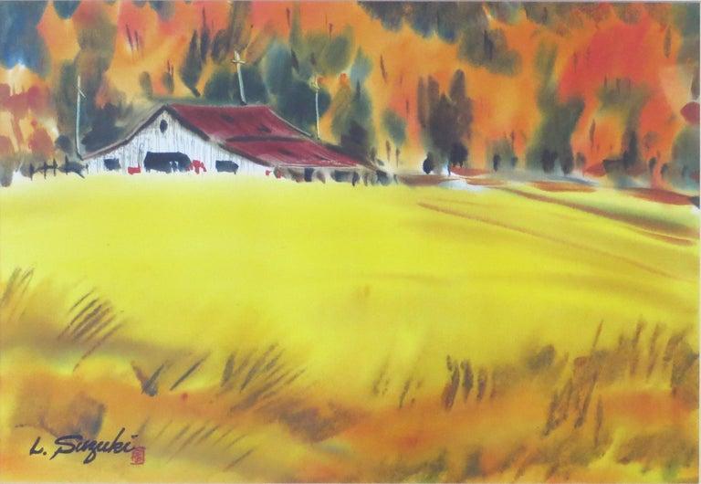 Autumn Landscape with Barn - Painting by Lewis Suzuki