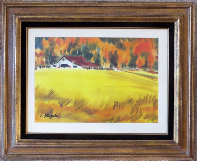 Lewis Suzuki Landscape Painting - Autumn Landscape with Barn