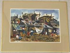 """Lewis Suzuki """"Squatters in Manila"""" Original Watercolor C.1960"""
