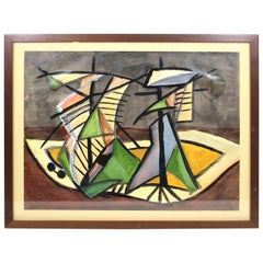 Lex Metz Dutch Mid-Century Modern Abstract Oil on Paper Still Life Painting