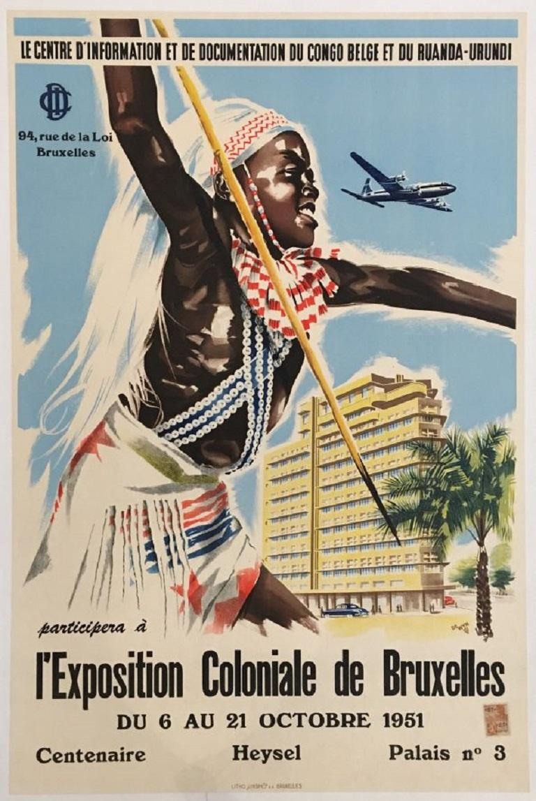 L'Exposition Coloniale de Bruxelles Original Vintage Poster In Good Condition For Sale In Melbourne, Victoria