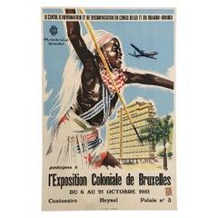 L'Exposition Coloniale de Bruxelles Original Vintage Poster